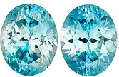 Deal on Blue Zircon Pair - Super Lively & Bright, 10 x 8 mm, Oval Cut, 8.28 carats