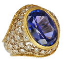 Deep Lavender Blue Tanzanite Bezel Set in Lovely Diamond Designer Ring  - SOLD