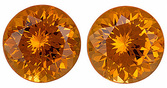 Diamond Like Nigerian Orange Spessartite Garnet Matched Pair - Super Eye Catching, Well Matched Pair, Round Cut, 3.11 carats
