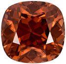 Earthy Cushion Cut Brown Zircon Loose Gem, Coppery Brown, 10 x 9.7 mm, 7.28 carats
