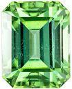 Emerald Cut Green Tourmaline Loose Gem, Fiery Mint Green, 7.4 x 5.8 mm, 1.75 carats