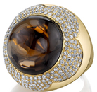 Enchanting Round Cabochon Smokey Quartz Chunky Cocktail Ring in 18kt Yellow Gold - 2.33ctw Pave Diamonds