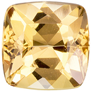 Excellent Clarity on Topaz Gemstone in Cushion Cut, Peachy Golden, 6 mm, 1.19 carats