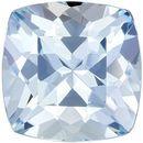 Excellent Cushion Cut Aquamarine Loose Gem, Medium Blue, 8 mm, 2.13 carats