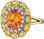Exquisite 3.33 carat Fiery Orange Mandarin Garnet & Yellow Sapphire Sun Ring in 18kt Yellow Gold with Diamond Halo - Handmade