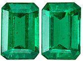 Exquisite Brazilian Rich Green Genuine Emerald Gemstone Pair for SALE - Clean & Bright, Great Match, Emerald Cut, 6 x 4 mm, 1.17 carats