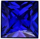 Faceted Blue Sapphire Stone, Princess Shape, Grade AAA, 2.75 mm in Size, 0.15 Carats
