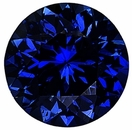 Faceted Blue Sapphire Stone, Round Shape, Diamond Cut, Grade AA, 2.25 mm in Size, 0.06 Carats