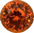 Fiery Burnt Orange Spessartite Garnet Gem in Round Cut, 9.2 x 9.2 mm, 4.3 carats