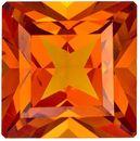 Fiery Orange Spessartite Garnet Gem in Princess Cut, Rich Hot Orange Color in 6.1 mm, 1.51 carats