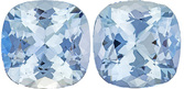 Fiery Unheated Nigerian Aquamarine Pair, Cushion Cut, 10.7 x 10.7 mm, 8.5 carats
