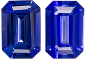 Finely Colored Sapphire Well Matched Pair in Emerald Cut, Gorgeous Blue, 6 x 4 mm, 1.14 carats