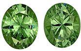 Finest Rare Pair of  Large Namibian Demantoid Garnet Gems, Oval Cut, 8.6 x 6.9 mm, 3.92 carats