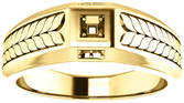 Fishtail Detail Accented Men's Ring Mounting for Square Shape Centergem Sized 2.00 mm to 6.00 mm - Customize Metal, Accents or Gem Type