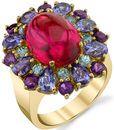 Gemmy Gorgeous 8.14ct Oval Pink Tourmaline Cabochon Ring - Colorful Gemstone Wreath of Tanzanite, Zircon & Amethyst