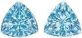Glorious Pair of Exotic Unheated Aquamarine Gemstones from Mozambique, Trillion Cut, 3.93 Carats