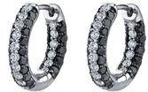 Gorgeous Black (1.33ctw) & White (0.63ctw) Diamond Hoop Earrings in 18kt White Gold
