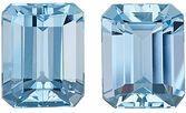 Gorgeous Brazilian Blue Aquamarine Pair - Popular Calibrated Size & Well Matched, Emerald Cut, 4.38 carats