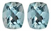 Gorgeous Well Matched Pair of Blue Aquamarine Genuine Gemstones,Antique Cushion Cut, 4.84 carats,