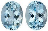 Great Matched Pair of Medium Dark Blue Aquamarine Gems for SALE, Oval Cut, 3.89 Carats