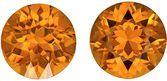 Great Price on Bright Spessartite Garnet Pair in Round Cut in Medium Orange Color, 6.0 mm, 1.93 carats