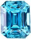 High Color Zircon Loose Gemstone in Radiant Cut, Medium Rich Blue, 7.4 x 6 mm, 2.6 carats