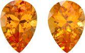 Hot Spessartite Garnets Matched Pair in Pear Cut, Intense Pure Orange Color in 8.9 x 6.2 mm, 3.63 carats
