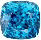 Impressive Cushion Cut Blue Zircon Loose Gem, Vivid Teal Blue, 11.1 x 10.7 mm, 10.45 carats