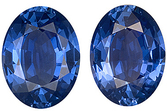 Impressive Gorgeous Pair of Unheated Blue Sapphires, AGTA Cert, Oval Cut, 9.07 carats