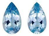 Impressive Pair of Perfectly Cut Aquamarine Gems from Brazil, Pear Cut, 7.54 Carats