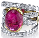 Incredible Quadruple Diamond Band 2-Tone 18kt Gold Ring - 8.44ct Cabochon Oval Pink Tourmaline