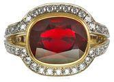 Intense 5 carat Burma Ruby set in Intricate Diamond Pave Handmade Ring - SOLD
