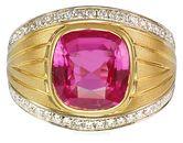 Intense 5 ct Pink Sapphire Bezel set Custom Gemstone Ring with Pave Diamonds - SOLD