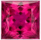 Intense, Unheated Reddish Pink Rubelite Tourmaline Gem with Great Clarity, Princess Cut, 2.1 carats