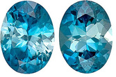 Intense Zircon Well Matched Pair in Oval Cut, Rich Blue, 8 x 6 mm, 3.65 carats