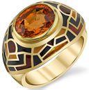 Interesting 10x8mm Oval Spessartite Garnet Handmade Ring - Unique Colorful Detailing