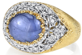 Italian Made 18kt 2-Tone 1.21ct Oval Blue Star Sapphire Ring With Hand carved Detailing - Diamond Accents