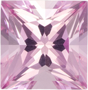 Light Baby Pink Tourmaline Loose Gem in Princess Cut, Light Baby Pink, 5.5 mm, 0.88 carats