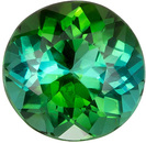 Lively Blue Green Tourmaline Gemstone in Round Cut, 6.8 mm, 1.35 carats