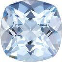 Lively & Bright Aquamarine Gemstone in Cushion Cut, Medium Rich Blue, 8.2 mm, 2 carats