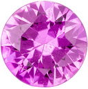 Lively & Vivid Sapphire Loose Gem in Round Cut, Rich Pure Pink, 5 mm, 0.56 carats