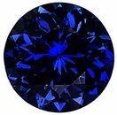 Loose Blue Sapphire Gem, Round Shape, Diamond Cut, Grade AA, 5.50 mm in Size, 0.8 Carats