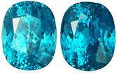 Low Price Deep Celadon Blue Cushion Zircon Gem Pair, 11.7 x 9.7mm, 20.27 carats