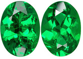 One-of-a-Kind Brazilian Green Emerald Pair - Super Bright & Gemmy, Hard to Find, Oval Cut, 1.33 carats