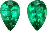 Pair of Emeralds in Pear Cut, Vivid Intense Green, 6 x 4 mm, 0.74 carats