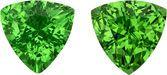 Pair of Tsavorite Garnets in Trillion Cut, Rich Grass Green Color, 5.8 mm, 1.59 Carats