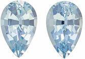 Pear Cut Aquamarine Pair in Rich Sky Blue Color, 10.2 x 6.4 mm, 3.24 carats