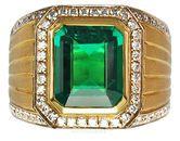 Perfect Columbian Emerald set in Classic Pave Diamond Designer Ring - SOLD