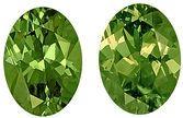 Perfect Pair of Well Matched Very Green Demantoid Garnet Gemstones, Oval Cut, 7.1 x 5 mm, 1.94 carats