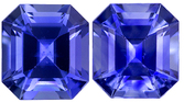 Perfectly Matched Blue Sapphires in Well Matched Pair in Square Cut, 5.0 x 5.4 mm, 1.65 carats